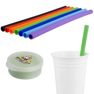 Silicone Straw in Round Case