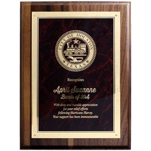 "Solid Walnut Plaque w/Brass Plate (7""x 9"")"